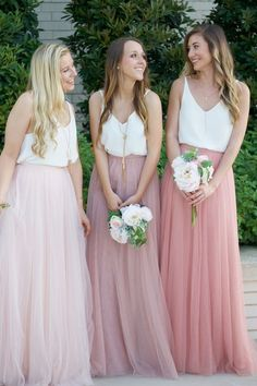 4f8e73c9634 Gorgeous Two Piece Blush Pink Tulle Long Bridesmaid Dress with White Top  from SofieDress