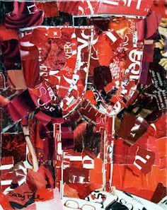 Just Red  Torn Paper collage