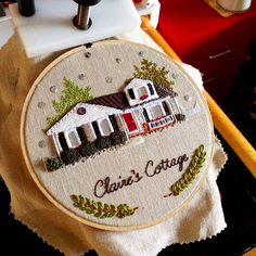 Just need to wait to see if the young lady wants to make any adjustments and this home will be on its way home! I'm loving this new multiple pictures on one post thing! Hardanger Embroidery, Hand Embroidery Stitches, Modern Embroidery, Embroidery Hoop Art, Embroidery Patterns, Portrait Embroidery, Cross Stitch House, Quilt Stitching, Cute Crafts