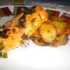 Filetes de salmão com batatas actifry 2 em 1