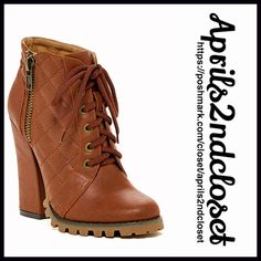 """❗️1-HOUR SALE❗️BOOTS Vegan Leather Lace Up Booties 💟NEW WITH TAGS💟 RETAIL PRICE: $85  BOOTS Vegan Leather Lace Up Heeled Ankle Booties   * Lace up vamp w/side zip closure  * Topstitch quilted construction & brass tone hardware  * Round toe & chunky 4"""" high heels  * Textured lug sole  * 5"""" high shaft & 9"""" opening  * True to size Fabric: Manmade upper & sole Color: Whiskey Brown Item:94400  🚫No Trades🚫 ✅ Offers Considered*✅ *Please use the blue 'offer' button to submit an offer. Boutique…"""