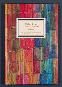 Buch: Reden und Einwürfe. Gedichte. 1. Aufl. - Bezugspapier: Spachtelpapier mit freier Kalligrafie von Gisela Reschke