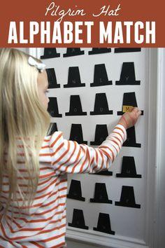 Toddler Approved!: Pilgrim Hat Alphabet Match for Kids