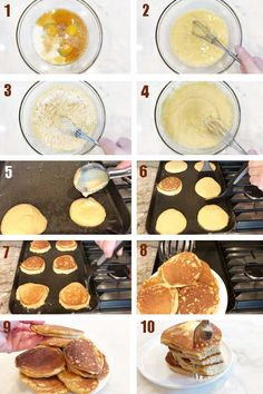 How to make almond flour keto pancakes - a step-by-step photo collage Keto Foods, Best Diet Foods, Good Foods To Eat, Make Almond Flour, Almond Flour Pancakes, Keto Pancakes, Pumpkin Pancakes, Blueberry Pancakes, Waffles