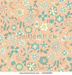 Fun floral doodles seamless pattern. Floral hand drawing pattern - stock vector