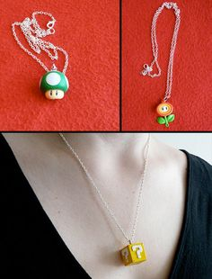 I love the mario jewelry and such(: Super Mario necklaces…. I love the mario jewelry and such(: Polymer Clay Kunst, Fimo Clay, Polymer Clay Projects, Polymer Clay Charms, Polymer Clay Creations, Polymer Clay Jewelry, Clay Crafts, Geek Mode, Fimo Kawaii