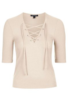 "Topshop Tie Front Top Hit refresh on simple shapes with this tie front style. Comes in a soft ribbed finish with lace-up eyelets to the placket. 96% Cotton, 4% Elastane. Machine wash. Model's height is 5' 9""  Colour:  PINK Item code:  09T20IPNK"
