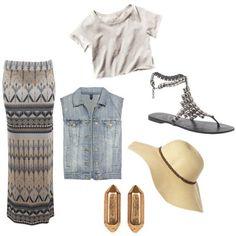 denim vest and maxi skirt