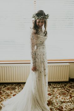 realwedding,needleandthread-Bride wears a white long sleeved embroidered and embellished Needle and Thread dress. Images by Natalie J Photography rea Wedding Dress Winter, Boho Wedding Dress, Wedding Attire, Boho Dress, Lace Dress, Mermaid Wedding, Lace Wedding, Needle And Thread Wedding Dresses, Wedding Dresses With Flowers