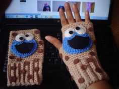 Cookie Monster Crochet Fingerless