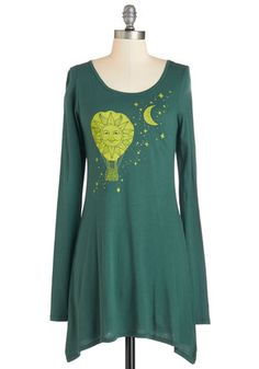Go with the Float Tunic - Cotton, Knit, Long, Green, Novelty Print, Casual, Boho, Eco-Friendly, Long Sleeve, Scoop