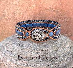 Blue Cobalt Silver Cuff Bracelet The Diamond by BarbSmithDesigns