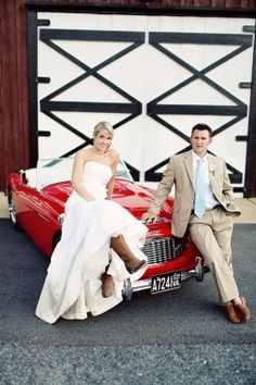 Red Convertible Wedding Portraits, cowgirl boots