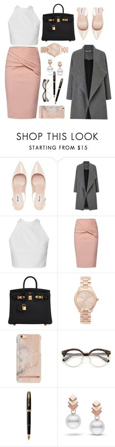 """""""Corporate jungle"""" by valreyes100 ❤ liked on Polyvore featuring Dune, Miss Selfridge, WtR, Hermès, Michael Kors, Parker and Escalier"""