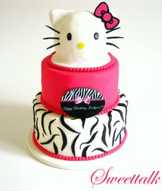 Hello Kitty Cake, Hot Pink Zebra Hello Kitty Cake, 3D Hello Kitty Cake, Animal print cake, Custom zebra print cake, Custom Cakes by Sweettalk, Los Angeles