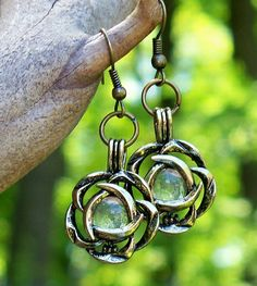 Clear / Brass Flower Earrings - Made in the USA