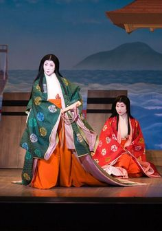 Either an odori of a kabuki play with actors dressed in junihitoe.