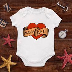 Tattoo,traditional tattoo,Love Mom, Love Dad,Bodysuit,Girls Onesie,baby clothing,Baby Bodysuit,Baby Boy Bodysuit,Wild Child,Baby Gift,