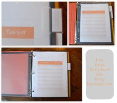 Printable pages for a Take Out Menu Planner