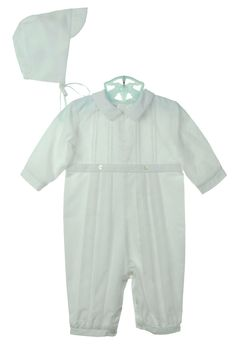NEW Sarah Louise White Pintucked Romper with Featherstitched Detail and Matching Hat $60.00