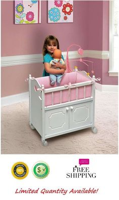 Musical Mobile Baby Doll Crib With Cabinet Bedding Toddler Toys For Girls White #MobileBabyDollCrib