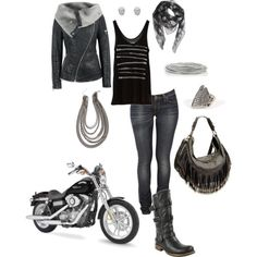 Biker babe outfit! And that bike is hot too! Need if I'm gonna be on the back of the bike this year!