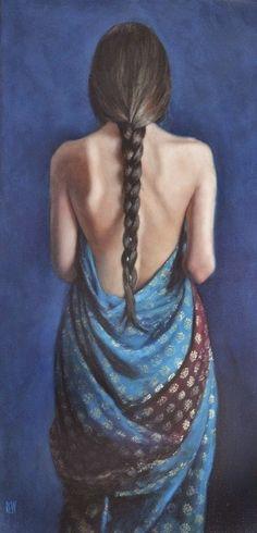 blue - woman - Stephanie Rew - figurative painting