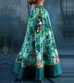 Multicoloured Printed Chanderi Silk Skirt With Blouse & Dupatta #Ethnicwear #Partywear #Designerwear #Anarkalis #Churidars #Skirts