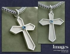 This cross pendant was hand crafted using sterling silver. The pendant features a nice heart shaped aquamarine. #imagesjewelers #customjewelry #cross #pendant #aquamarine