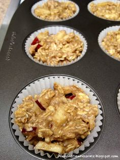 Healthy oatmeal muffins. I made mine with raspberries. A great healthy snack idea! No added sugar and gluten free.