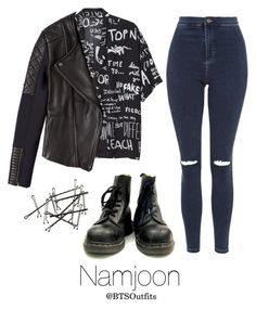 """BTS Jap. Ver. Inspired: Namjoon"" by btsoutfits ❤ liked on Polyvore featuring Monki, Francis Leon and Topshop"