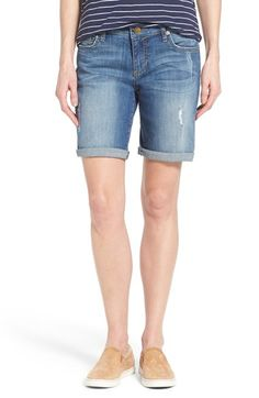 Free shipping and returns on KUT from the Kloth 'Catherine' Boyfriend Shorts (Teamwork) at Nordstrom.com. Essential denim shorts with a touch of distressing, perfectly placed fading and rolled hems are cut straight through the waist and hips for a touch of boyish slouch.