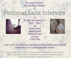 Petticoat Lane Interiors is opening on Friday November 14th on Hafod Farm near Betws-y-Coed. Join us for cupcakes, Prosecco and special discounts!