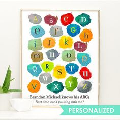 Watercolor Nursery Art Alphabet Print Boys by AppleBlossomPrint