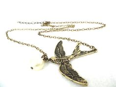 Gorgeous Gold Swallow Bird Pendant Woman's Necklace w Hanging Pearl Detail | eBay