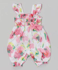 Look what I found on #zulily! Baby Essentials Pink & White Floral Ruffle Romper by Baby Essentials #zulilyfinds