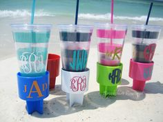 Personalized Monogrammed Drink Holder for Picnics or Beach | #monogram #beach #needit