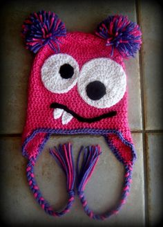 Girl, Monster Hat, Crochet Hats, Baby Girl, Crochet Monster Hat, Beanie, Earflaps, MADE TO ORDER. $20.00, via Etsy.