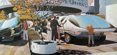 Syd Mead: U.S. Steel Interface - a portfolio of probabilities, 1969 - Recreational Vehicle with Expandable Sections - Its inflatable substructure allows the inner volume to be increased almost two-fold for sleeping accomodation.