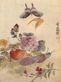 (Korea) Flowers & Vegetables & Butterflies by Shim Sa-jeong (1707-1769). color on paper. 심사정.