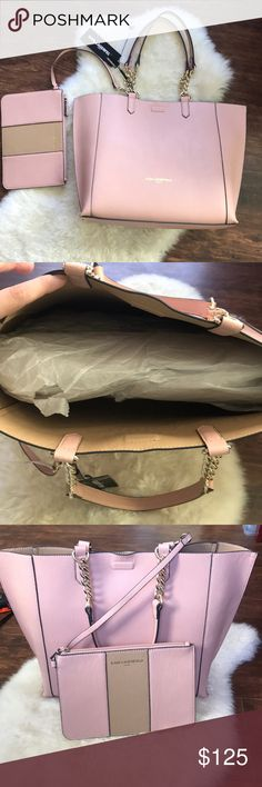 "NWT Karl Lagerfeld reversible purse New with tags Karl Lagerfeld Paris reversible tote. Comes with detachable wristlet/wallet. Tote is 12"" x 13"" x 4.5. Wristlet is 9.5 x 6.5. Real leather, authentic Karl Lagerfeld Bags Totes"