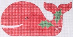 Kate Dickerson Needlepoint Christmas whale ornament