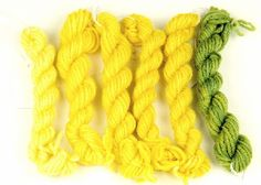 Dyers's Chamomile dyed wool. Green is overdyed with woad. #kamille #natuurlijkeverf