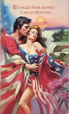 Romance novel innards.  I love the . . .outfit.  And the swooning.