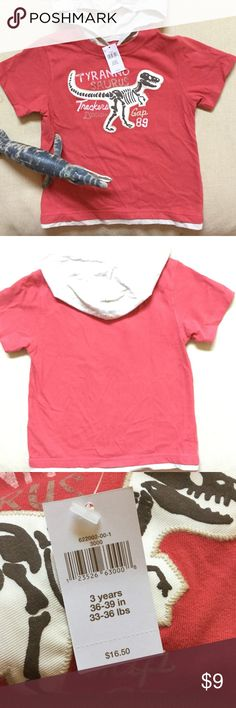 Gap toddler top. Gap toddler short sleeve top with hood. Has T-Rex dinosaur print. New with tag. Never worn. Excellent condition! No holes or stains. Smoke free home. GAP Tops Tees - Short Sleeve