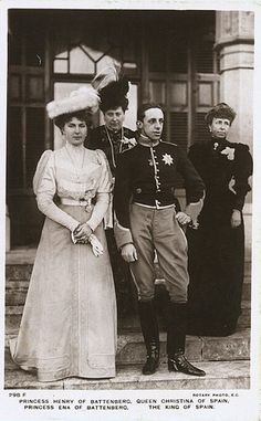 LtoR: Queen Victoria Eugenie of Spain, Princess Beatrice of Battenberg, King Alfonso XIII of Spain, Dowager Queen Maria Christina of Spain