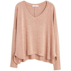 Mango Flecked V-Neck T-Shirt, Nude ($27) ❤ liked on Polyvore featuring tops, sweaters, shirts, long sleeves, vneck sweater, lightweight sweaters, longsleeve shirt, red long sleeve shirt and red top