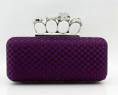Ladies' Skull Clutch Knuckle Rings Handbag, Four Fingers Evening Bag with Shoulder Chain punk wallet , free shipping EB043