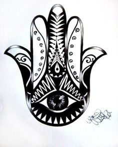 The hamsa hand conveys a message to the devil, so upwardly hamsa is good against the 'evil eye'. A downward hamsa is an auspicious sign of prosperity and success. Hamsa Tattoo Meaning, Tattoos With Meaning, Future Tattoos, Love Tattoos, Tatoos, Design Hamsa, Piercing Tattoo, Piercings, Tattoo Ink