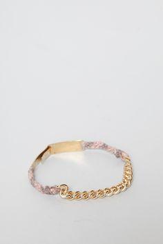 Robert Geller X Scosha Womens Gold Bar Chain Link Bracelet (Taupe/Rose)
